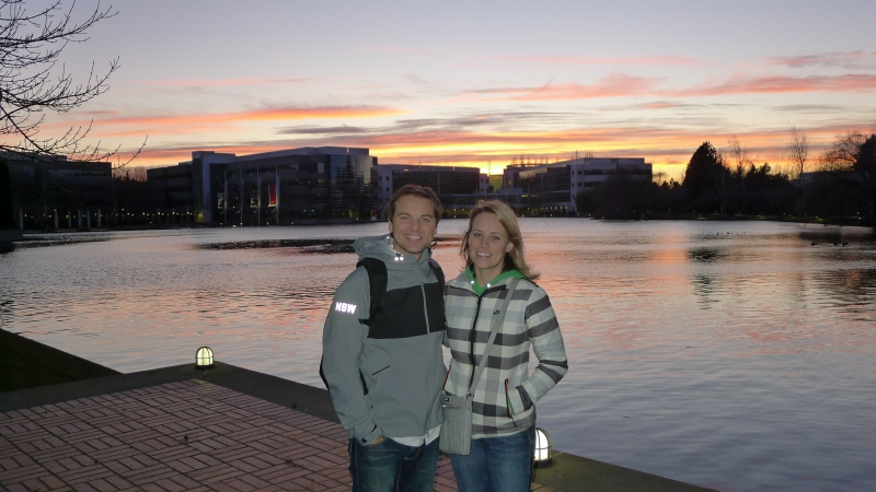 Beautiful sunset over Lake Nike on campus