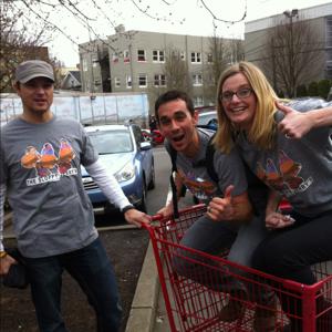 Riding a Trader Joe's shopping cart