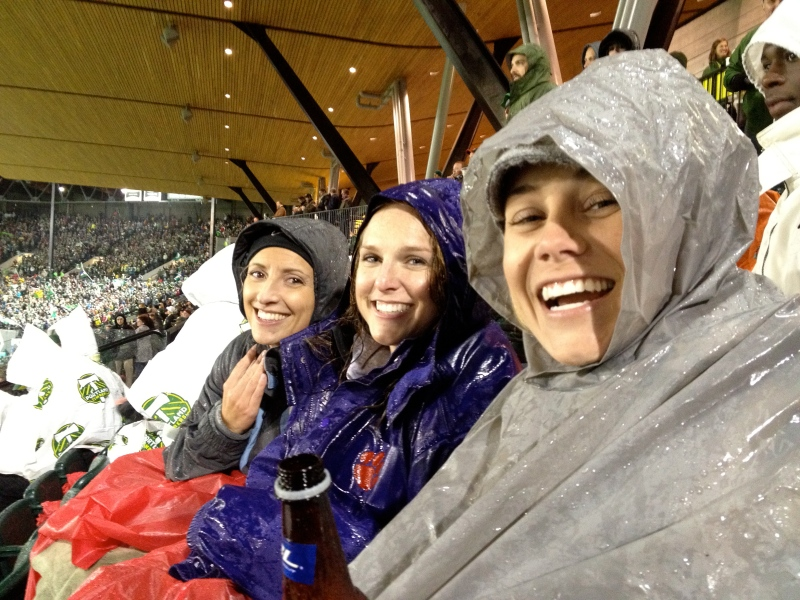 Cheering on the Timbers in the rain with Nicole and Kristen