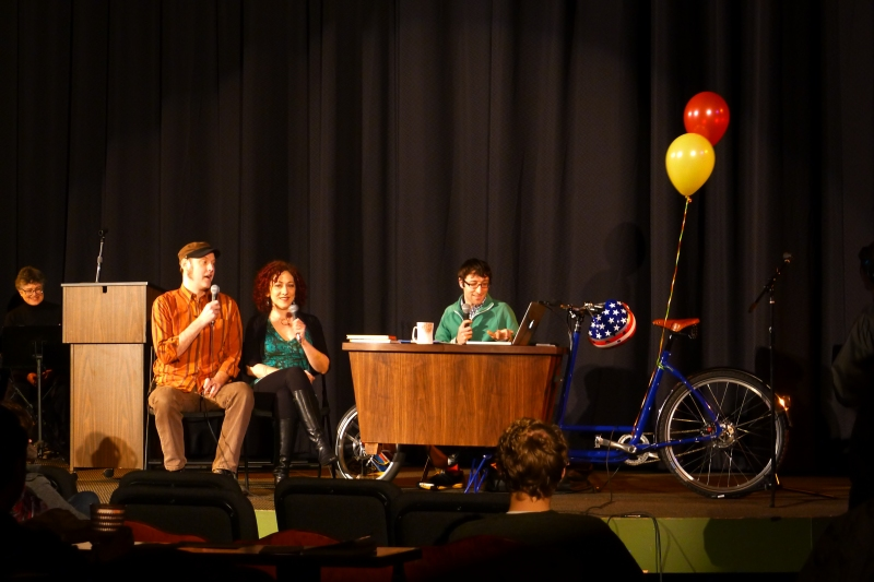 Pedal Powered Talk Show live taping in Bagdad Theater
