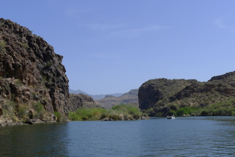 Beautiful Saguaro Lake tucked among canyons and mountains