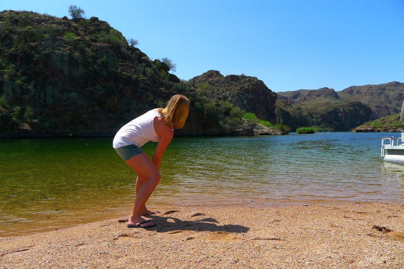Trying to skip some stones in Saguaro Lake
