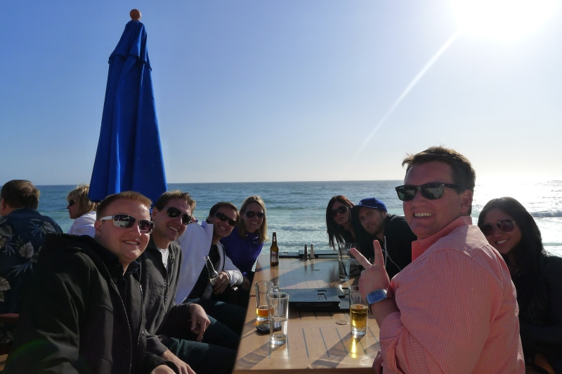 Happy hour at Hotel Laguna with Brett, Jason, Justina, Chris, Maureen and Joey