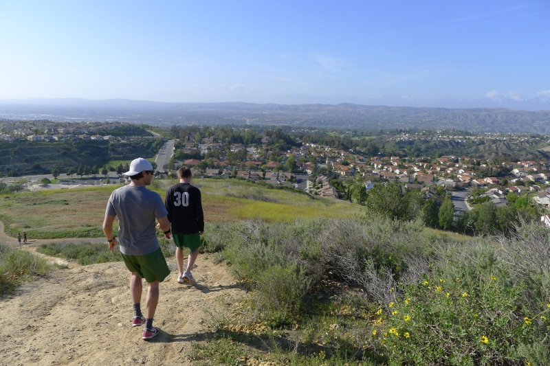 Hiking back down the hills to get ready for the concert