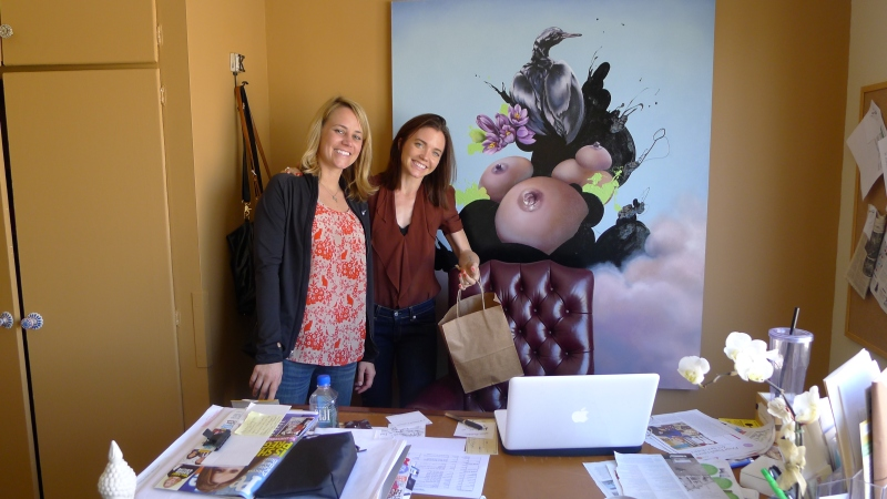 Visiting Rach at her Krupa Consulting office (in front of the boob painting)