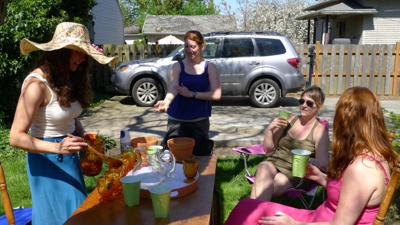 Jessica, Lindsey, Kelley and Betsy enjoying craft party Sunday