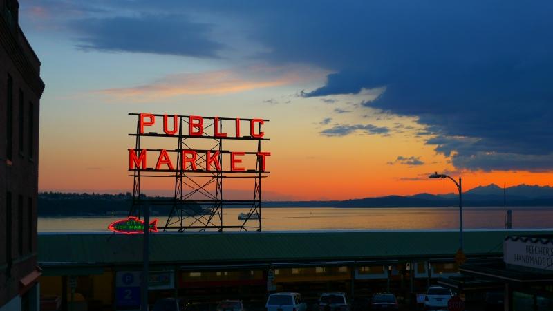 Beautiful sunset alongside the Pike Place Market