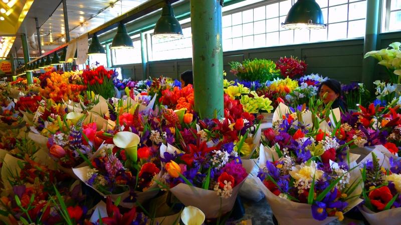 Flower bonanza inside the Pike Place Market