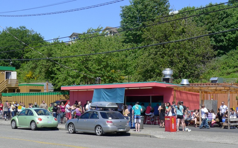 Paseo Caribbean Restaurant, home of AMAZING sandwiches (you can tell by the line)