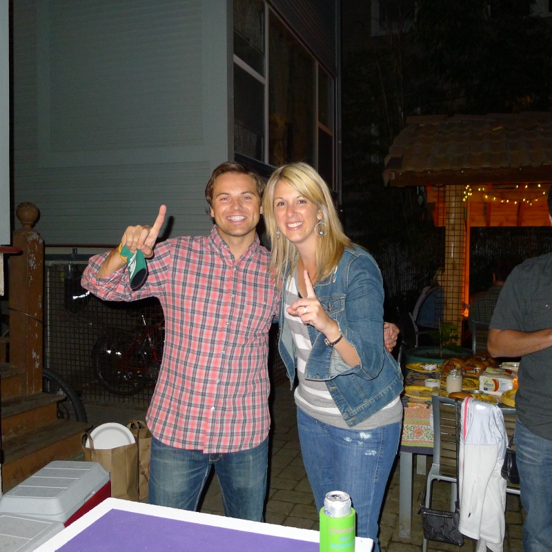 Proud beer pong champs Jeff and Keeley
