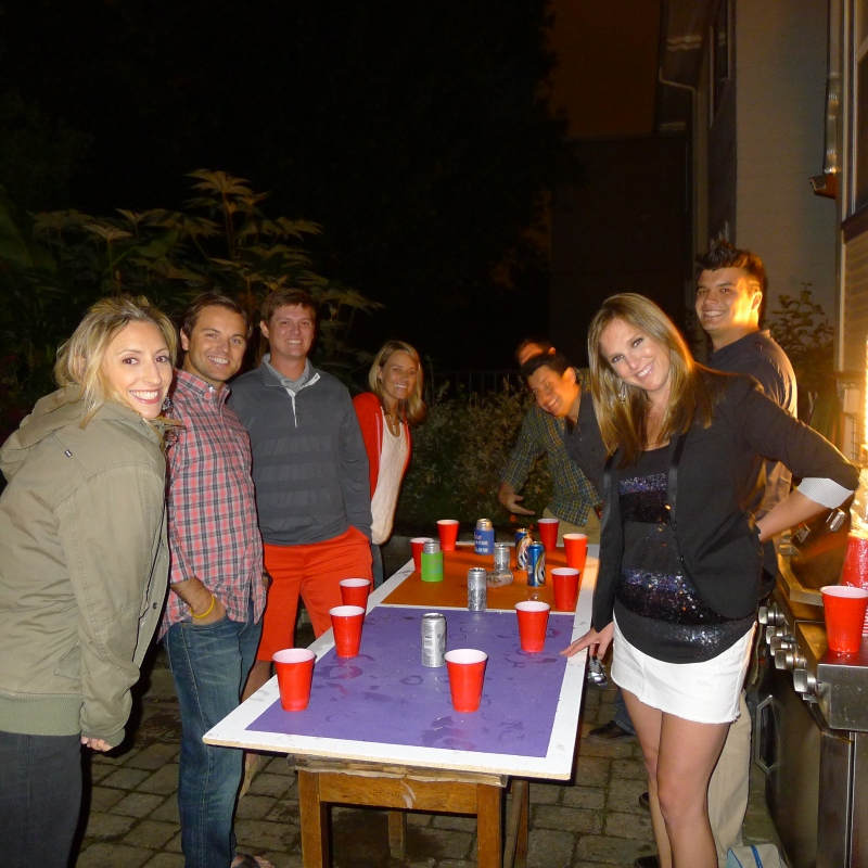 Flip cup! (Did I mention the party was drinking game-themed?)
