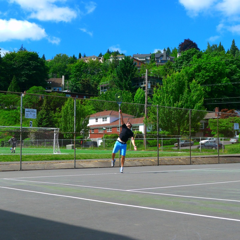 Game of early morning tennis at Wallace Park (a mere two blocks from home)