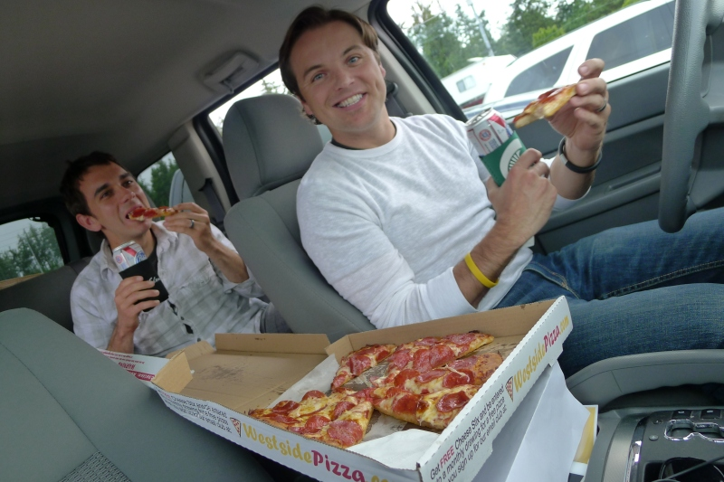Enjoying our Westside Pizza, which we ordered from the ferry boarding line