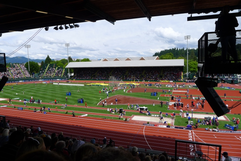 The bustling field, with multiple events happening simultaneously