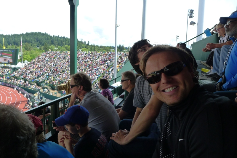 Jeff happy for a sunny day at Hayward Field