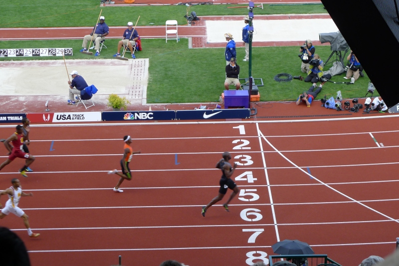 The finish line for the men's 400m