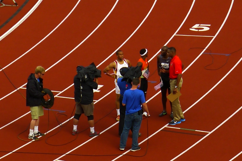 LaShawn Merritt and the other winners of the men's 400m being interviewed on TV