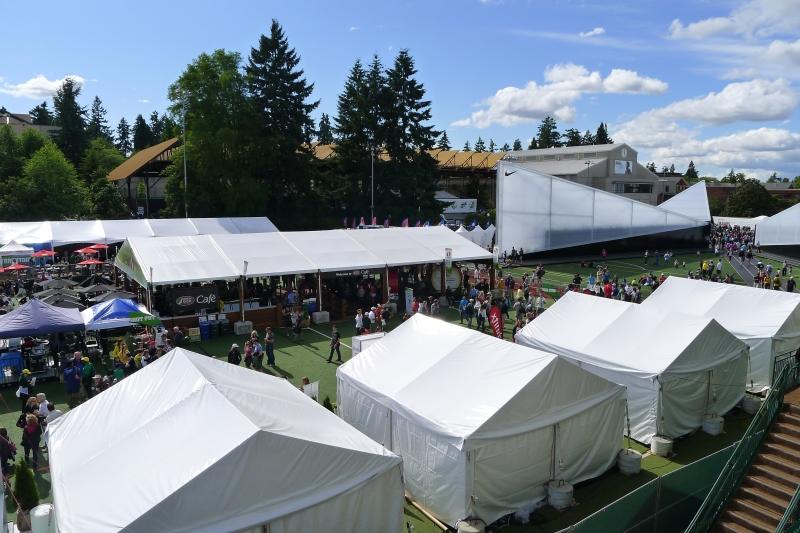 The festival (and plenty of Nike displays) behind Hayward Field