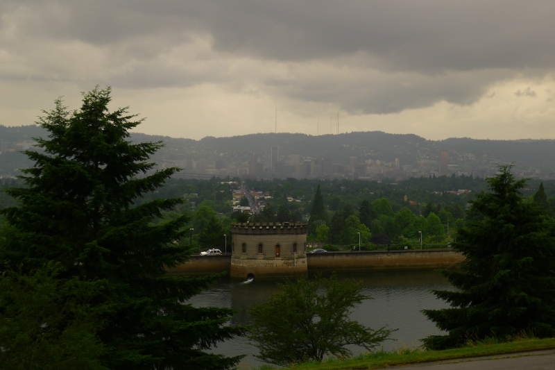 The cloud-covered view of downtown Portland from Mount Tabor