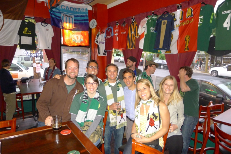Our Timbers-cheering clan at 442 Bar: Stephen, Felicia, Genaro, Jeff, Daniel, me and Lindsay