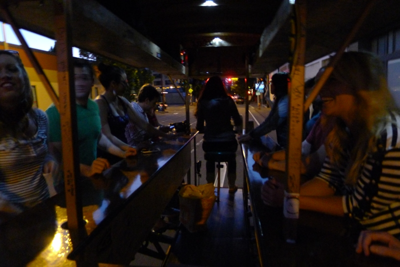 Nighttime view of the inside of the pedal pub