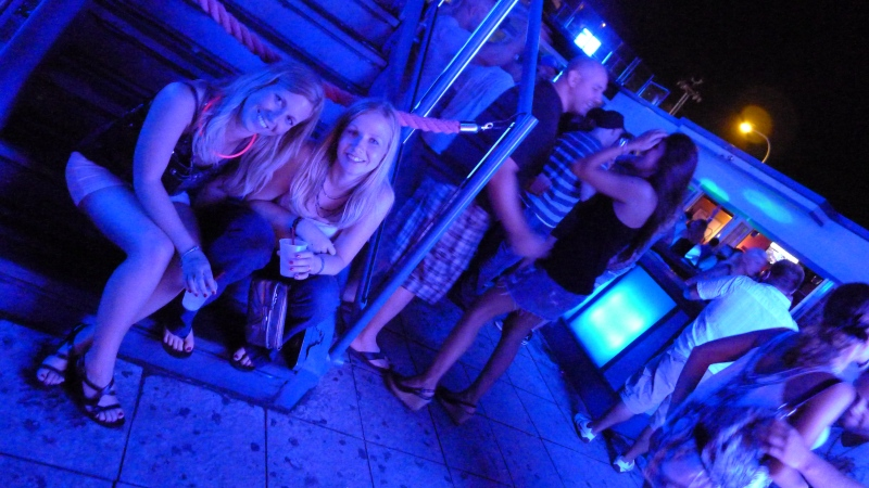 Shelly and Lori taking a breather at Karma nightclub in Seaside, New Jersey