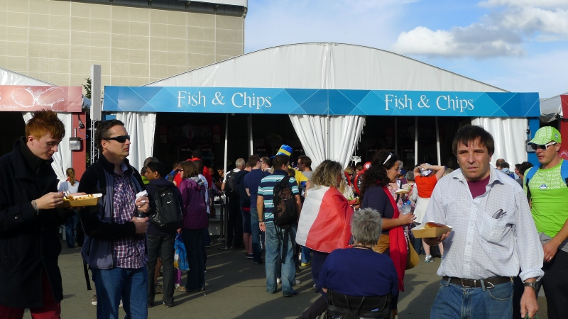 My first English fish & chips and mushy peas - at the Olympics, no less!