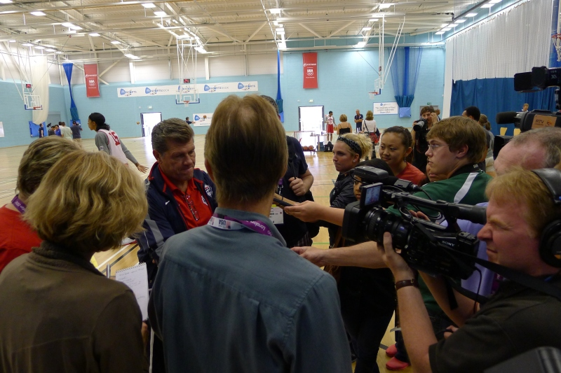 USA Women's Basketball coach Geno Auriemma doing a press chat
