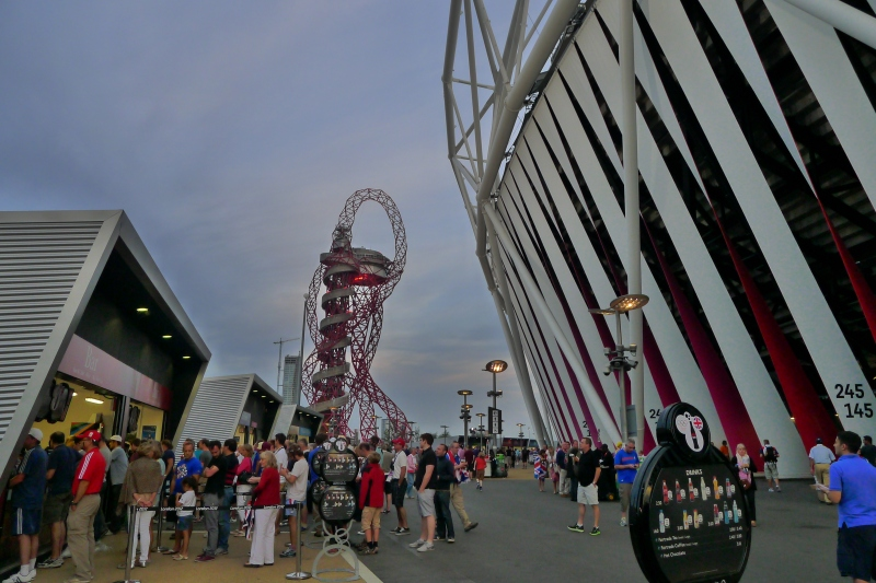 Grabbing some dinner at the Olympic Stadium