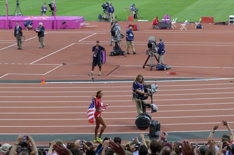 Victory lap by USA sprinter Sanya Richards Ross