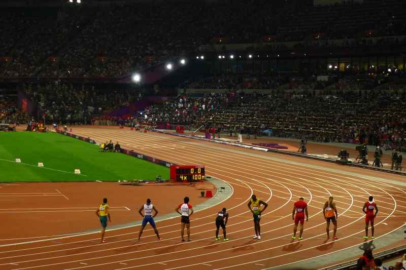 The anchor leg of the men's 4x100m - notice Usain Bolt in the middle