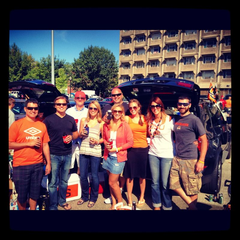 The tailgate crew at the Oregon State/Wisconsin football game