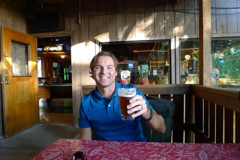 Grabbing a pint at Skyline Tavern