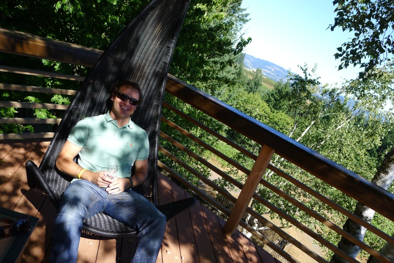 Jeff relaxing on the Torii Mor Winery deck