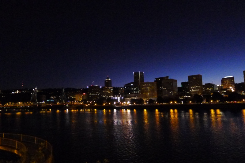 Admiring the Portland city skyline as we walk across the Morrison Bridge