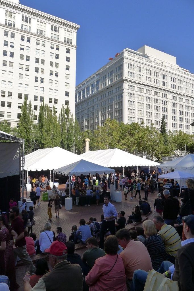 The Feast Portland crowds in Pioneer Courthouse Square