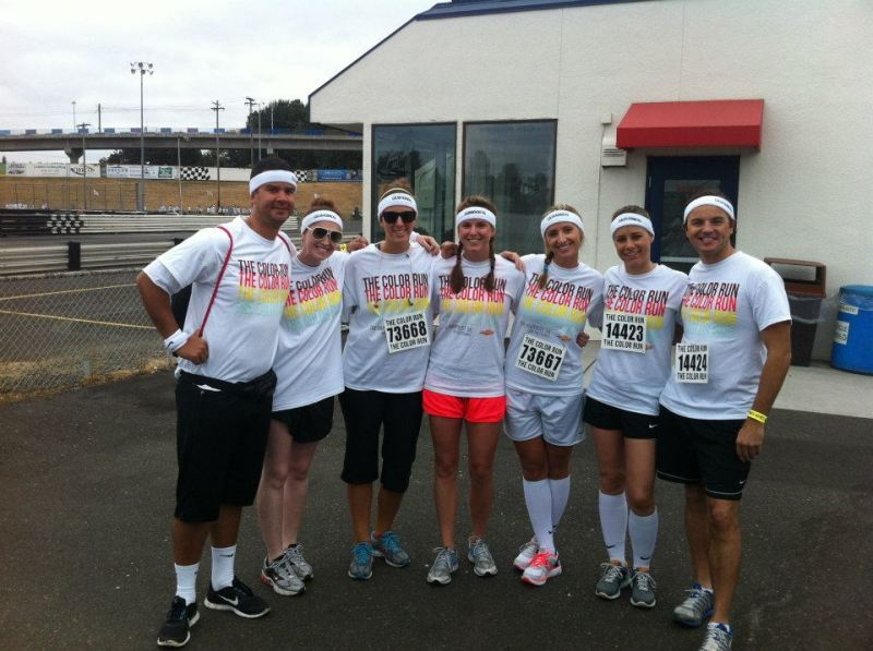 The team pre-race: Sadbhuja, Jackie, Keeley, Kristen, Nicole, me and Jeff