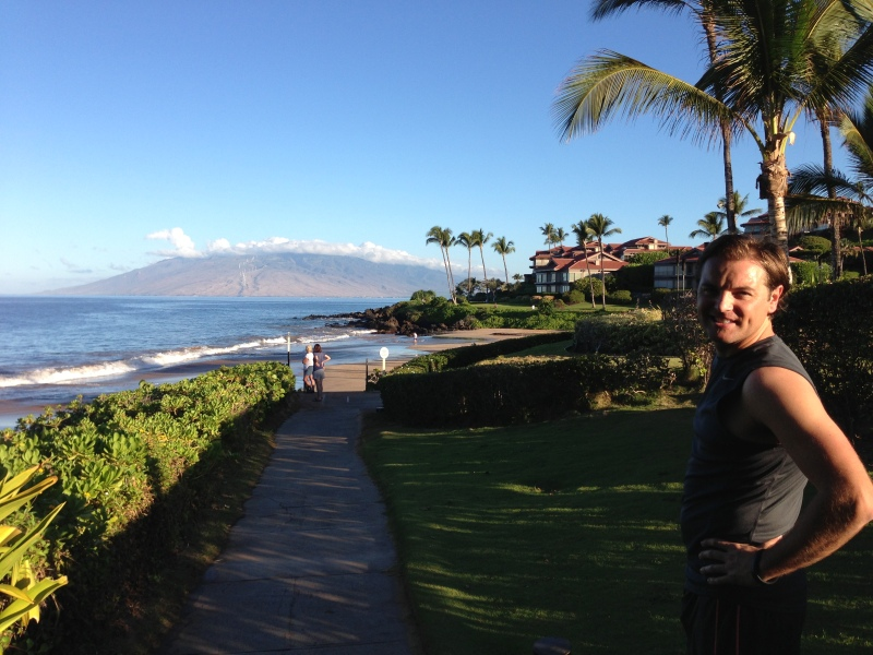 A stop along our morning run on the Wailea beach trail