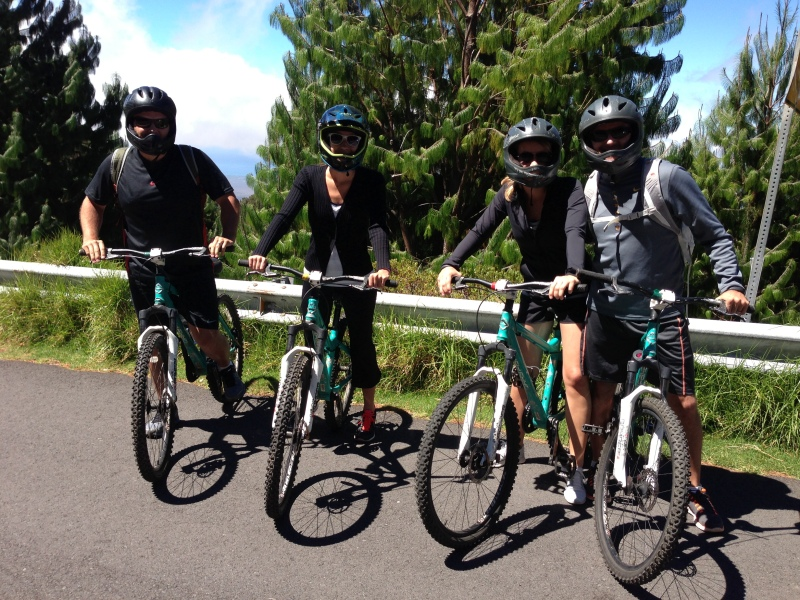 Ready to rock on our bike tour down the mountain/volcano