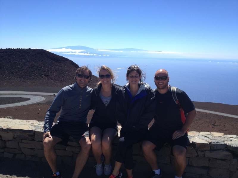 The four of us on the driving tour portion of our Haleakalā bike excursion