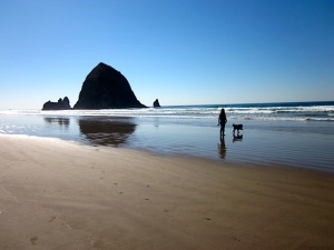 Coop and me at Cannon Beach