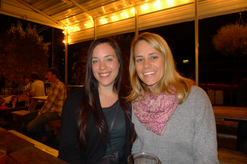 Lesley and me perched on the outdoor seating at Amnesia Brewing