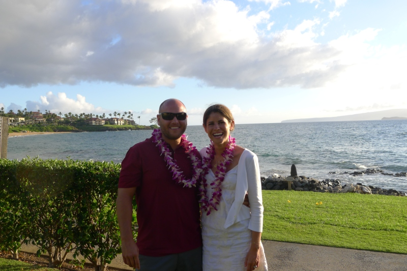 Rob and Amy, sporting their fresh flower leis at the Te Au Moana Luau