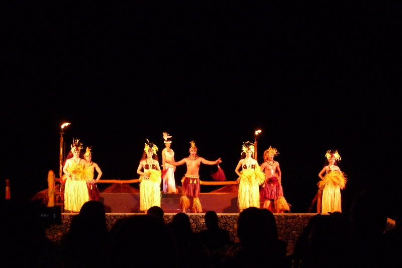 Hula dancers at the Te Au Moana Luau