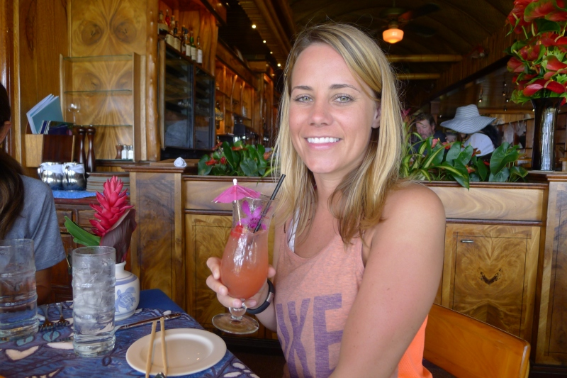 Enjoying my tropical drink at Mama's Fish House before our journey on the Road to Hana