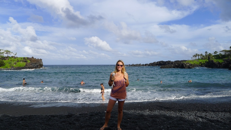 At the black sand beach at Wai'anapanapa State Park