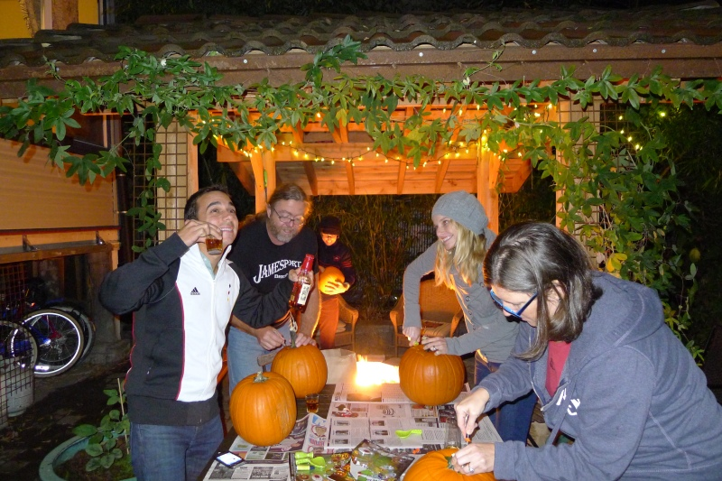 Pumpkin-carving party in the backyard!