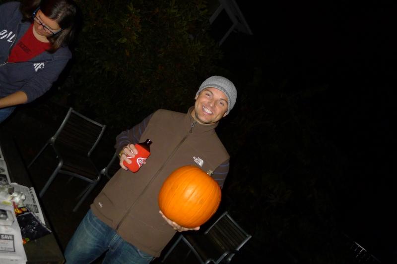 Jeff contemplating his design ideas for his pumpkin
