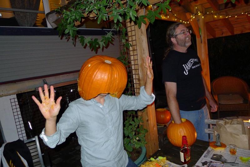 Daniel fulfilling a lifelong dream to wear a pumpkin on his head (he dreams big)