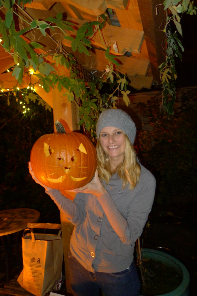 Lindsay and her kitty pumpkin